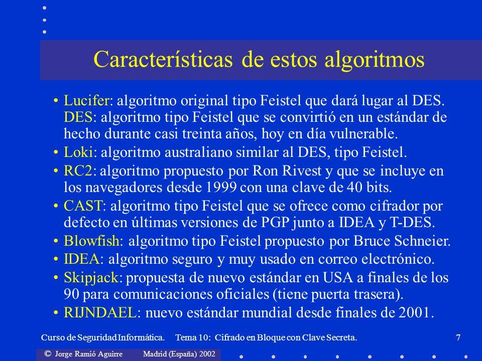 © Jorge Ramió Aguirre Madrid (España) 2002 Curso de Seguridad Informática. Tema 10: Cifrado en Bloque con Clave Secreta.7 Características de estos alg