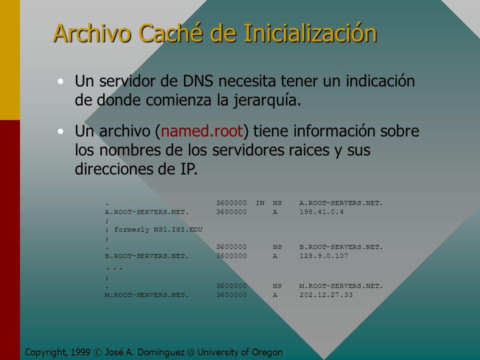 Archivo Caché de Inicialización Copyright, 1999 © José A. Domínguez @ University of Oregon Un servidor de DNS necesita tener un indicación de donde co
