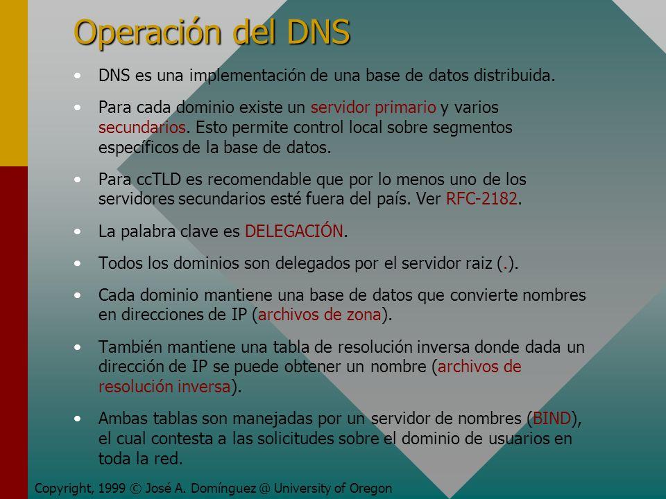 Operación del DNS DNS es una implementación de una base de datos distribuida. Para cada dominio existe un servidor primario y varios secundarios. Esto