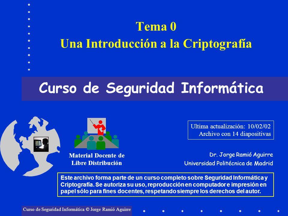 Tema 0 Una Introducción a la Criptografía Curso de Seguridad Informática Material Docente de Libre Distribución Curso de Seguridad Informática © Jorge