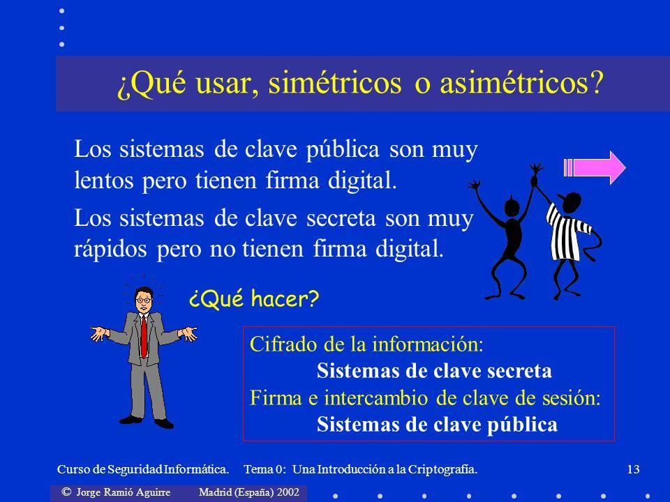 © Jorge Ramió Aguirre Madrid (España) 2002 Curso de Seguridad Informática. Tema 0: Una Introducción a la Criptografía.13 ¿Qué usar, simétricos o asimé