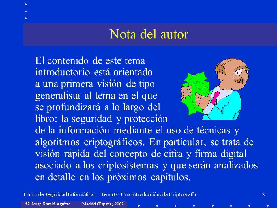 © Jorge Ramió Aguirre Madrid (España) 2002 Curso de Seguridad Informática. Tema 0: Una Introducción a la Criptografía.2 El contenido de este tema intr