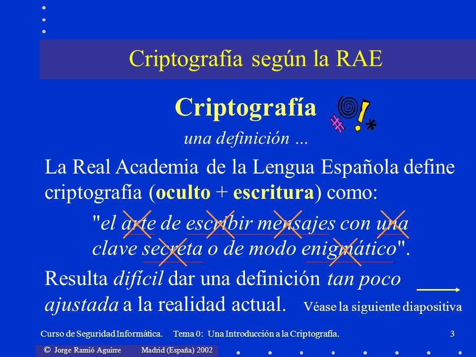 © Jorge Ramió Aguirre Madrid (España) 2002 Curso de Seguridad Informática. Tema 0: Una Introducción a la Criptografía.3 Criptografía según la RAE Crip