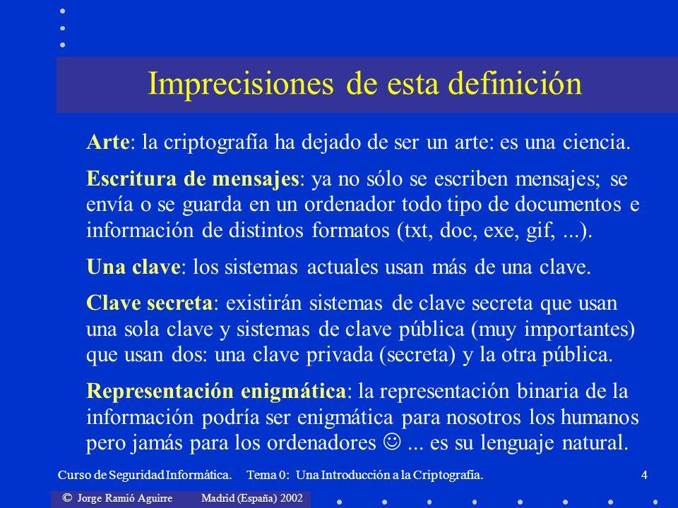 © Jorge Ramió Aguirre Madrid (España) 2002 Curso de Seguridad Informática. Tema 0: Una Introducción a la Criptografía.4 Imprecisiones de esta definici