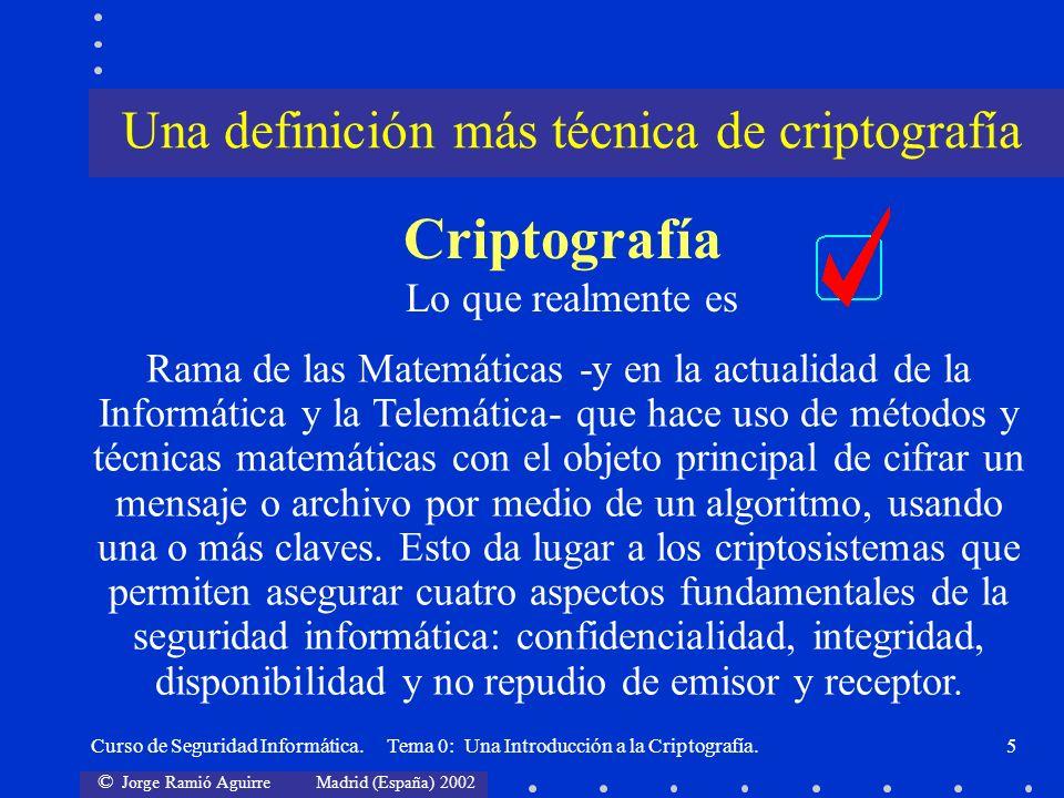 © Jorge Ramió Aguirre Madrid (España) 2002 Curso de Seguridad Informática. Tema 0: Una Introducción a la Criptografía.5 Una definición más técnica de