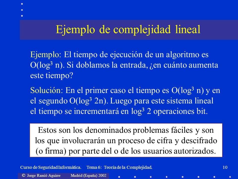 © Jorge Ramió Aguirre Madrid (España) 2002 Curso de Seguridad Informática. Tema 6: Teoría de la Complejidad.10 Solución: En el primer caso el tiempo e