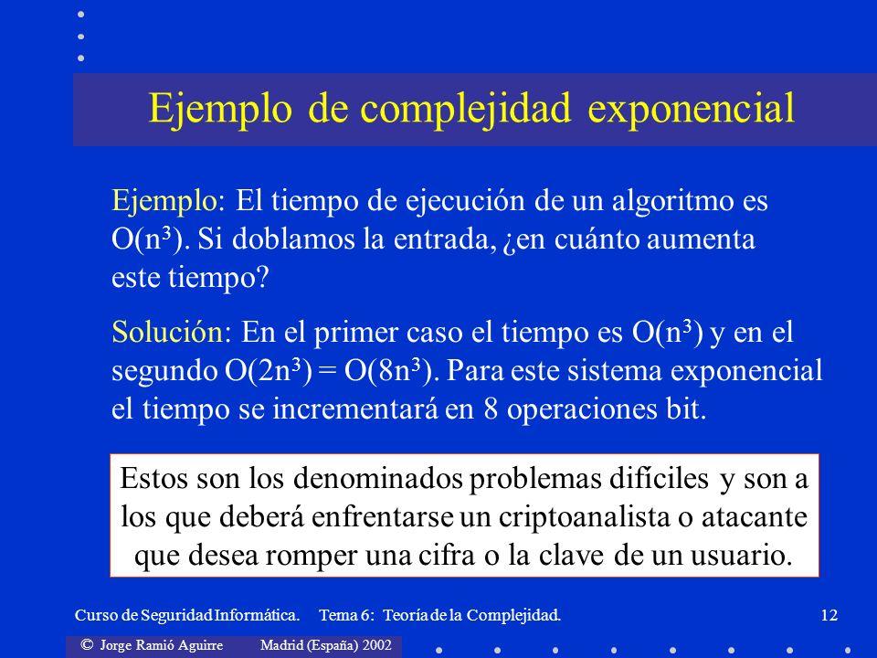 © Jorge Ramió Aguirre Madrid (España) 2002 Curso de Seguridad Informática. Tema 6: Teoría de la Complejidad.12 Solución: En el primer caso el tiempo e