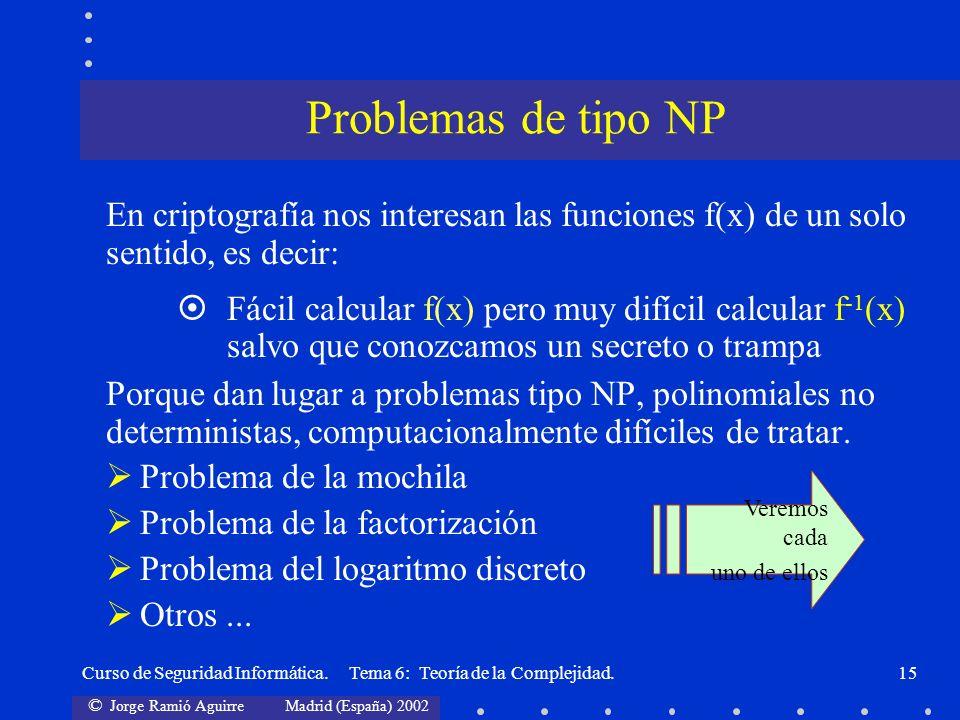 © Jorge Ramió Aguirre Madrid (España) 2002 Curso de Seguridad Informática. Tema 6: Teoría de la Complejidad.15 En criptografía nos interesan las funci