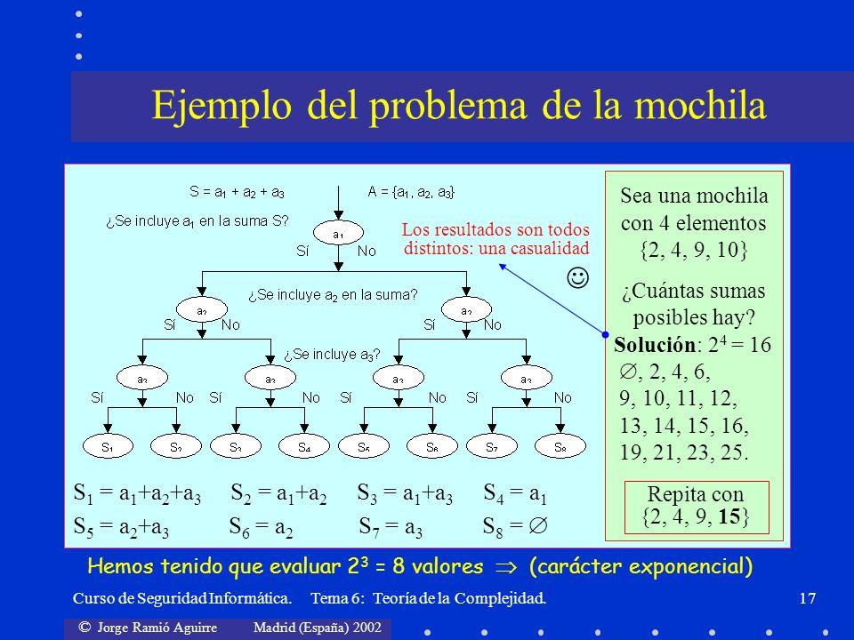 © Jorge Ramió Aguirre Madrid (España) 2002 Curso de Seguridad Informática. Tema 6: Teoría de la Complejidad.17 S 1 = a 1 +a 2 +a 3 S 2 = a 1 +a 2 S 3