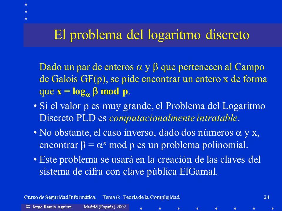 © Jorge Ramió Aguirre Madrid (España) 2002 Curso de Seguridad Informática. Tema 6: Teoría de la Complejidad.24 Dado un par de enteros y que pertenecen