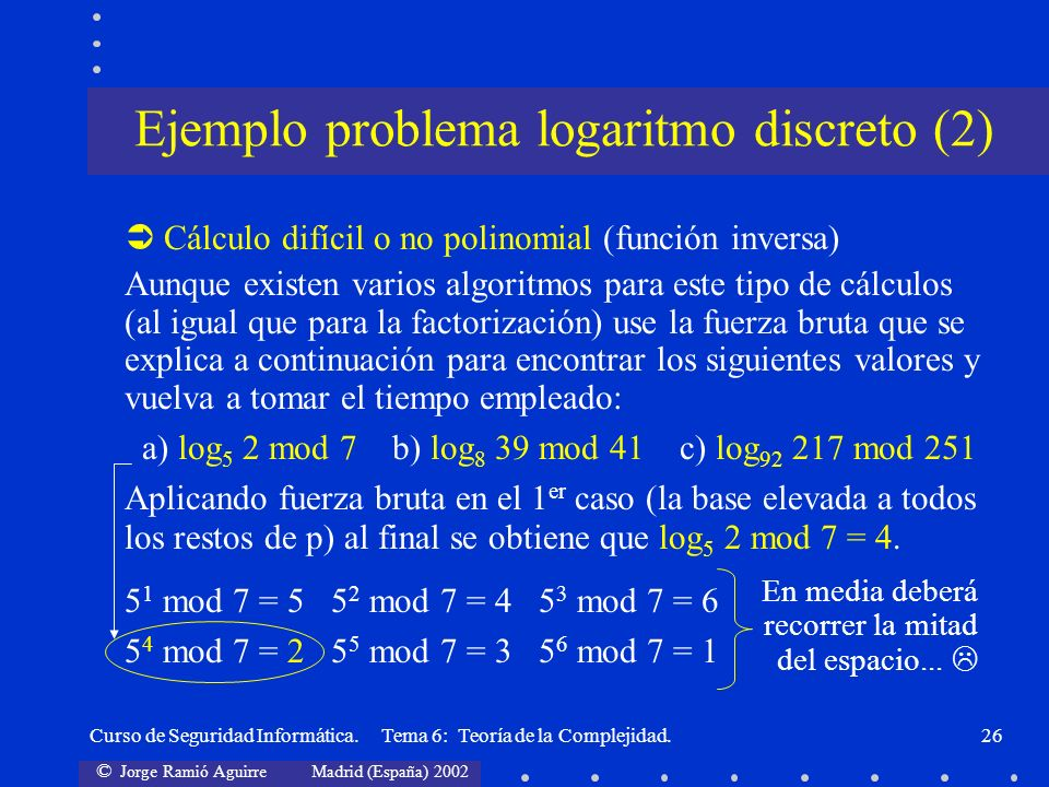© Jorge Ramió Aguirre Madrid (España) 2002 Curso de Seguridad Informática. Tema 6: Teoría de la Complejidad.26 Cálculo difícil o no polinomial (funció