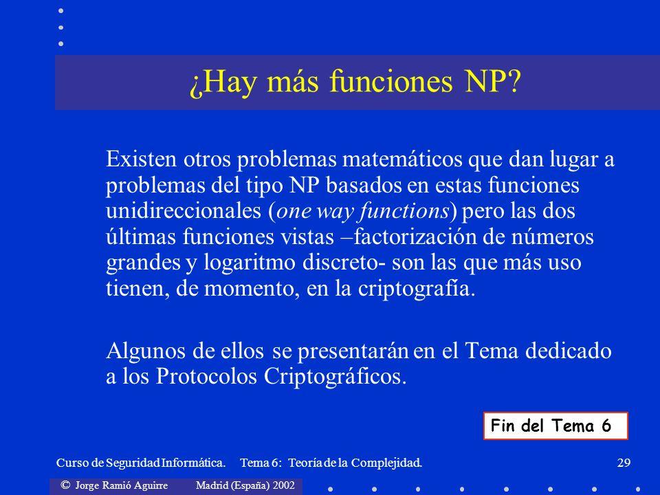 © Jorge Ramió Aguirre Madrid (España) 2002 Curso de Seguridad Informática. Tema 6: Teoría de la Complejidad.29 Existen otros problemas matemáticos que