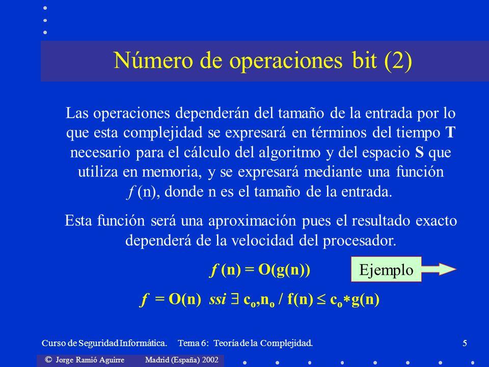 © Jorge Ramió Aguirre Madrid (España) 2002 Curso de Seguridad Informática. Tema 6: Teoría de la Complejidad.5 Las operaciones dependerán del tamaño de