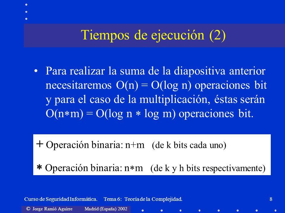 © Jorge Ramió Aguirre Madrid (España) 2002 Curso de Seguridad Informática. Tema 6: Teoría de la Complejidad.8 Para realizar la suma de la diapositiva