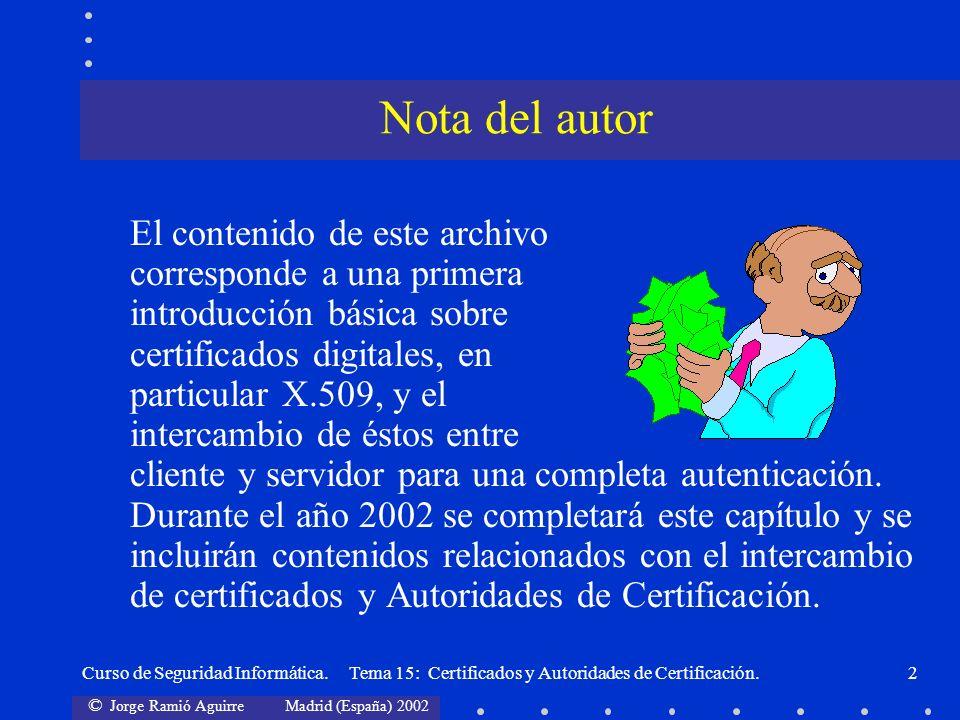 © Jorge Ramió Aguirre Madrid (España) 2002 Curso de Seguridad Informática. Tema 15: Certificados y Autoridades de Certificación.2 El contenido de este