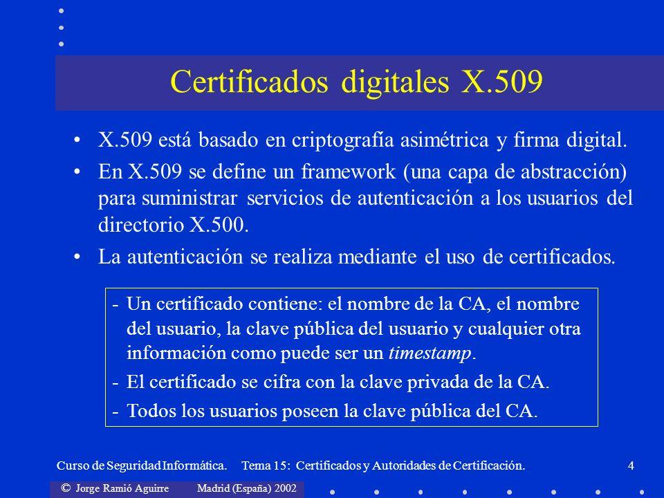 © Jorge Ramió Aguirre Madrid (España) 2002 Curso de Seguridad Informática. Tema 15: Certificados y Autoridades de Certificación.4 X.509 está basado en