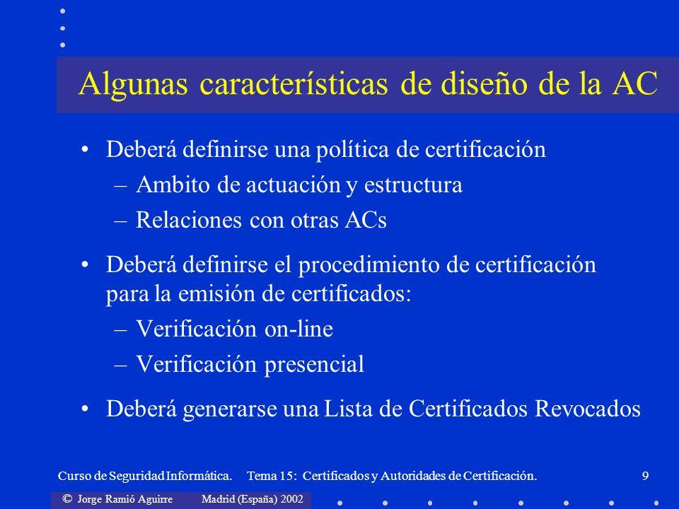 © Jorge Ramió Aguirre Madrid (España) 2002 Curso de Seguridad Informática. Tema 15: Certificados y Autoridades de Certificación.9 Deberá definirse una