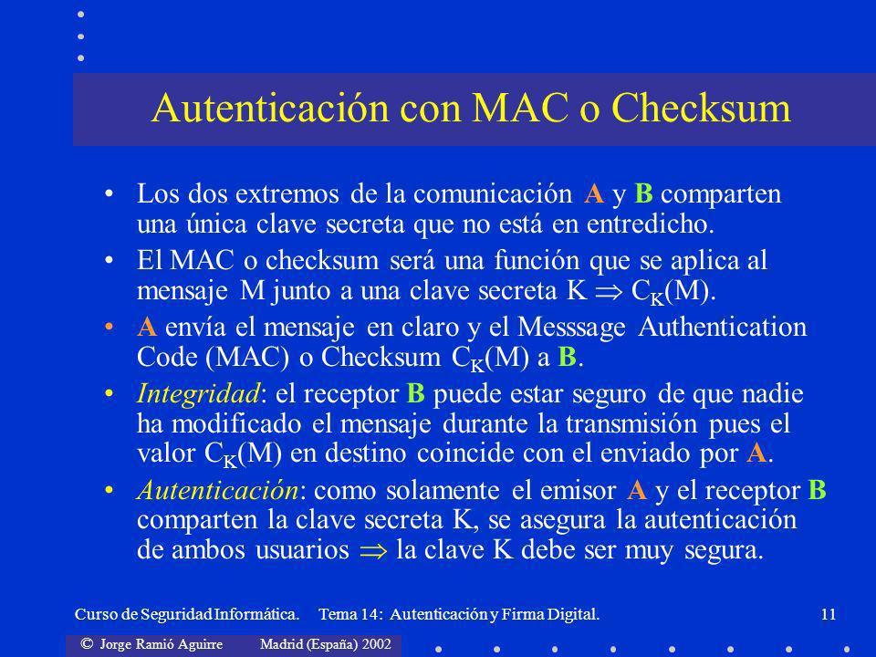 © Jorge Ramió Aguirre Madrid (España) 2002 Curso de Seguridad Informática. Tema 14: Autenticación y Firma Digital.11 Autenticación con MAC o Checksum