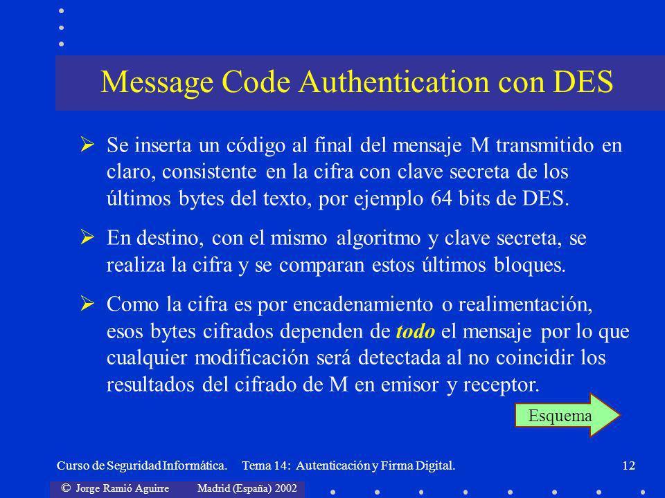 © Jorge Ramió Aguirre Madrid (España) 2002 Curso de Seguridad Informática. Tema 14: Autenticación y Firma Digital.12 Se inserta un código al final del