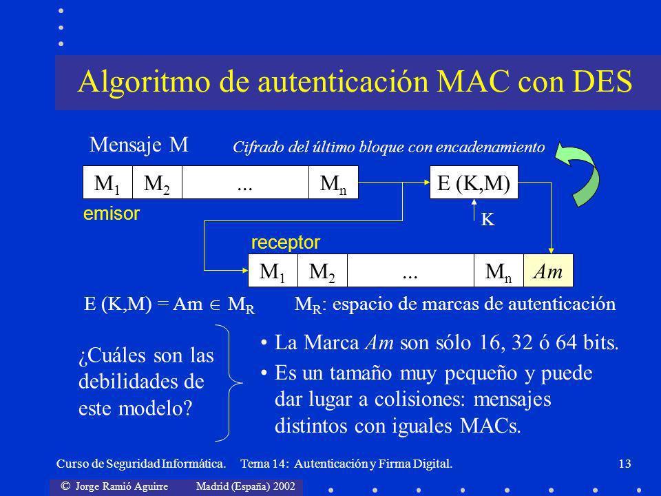 © Jorge Ramió Aguirre Madrid (España) 2002 Curso de Seguridad Informática. Tema 14: Autenticación y Firma Digital.13 M1M1 M2M2 MnMn...E (K,M) M1M1 M2M