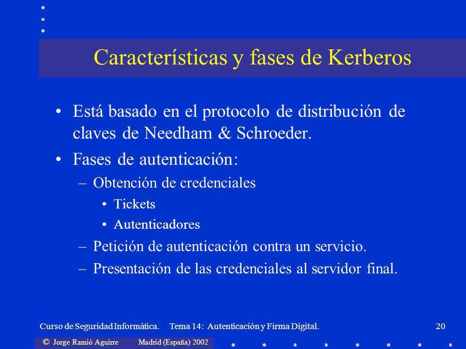 © Jorge Ramió Aguirre Madrid (España) 2002 Curso de Seguridad Informática. Tema 14: Autenticación y Firma Digital.20 Está basado en el protocolo de di