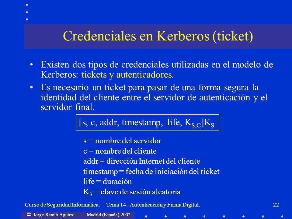 © Jorge Ramió Aguirre Madrid (España) 2002 Curso de Seguridad Informática. Tema 14: Autenticación y Firma Digital.22 Existen dos tipos de credenciales