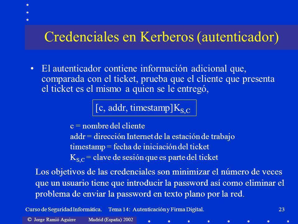 © Jorge Ramió Aguirre Madrid (España) 2002 Curso de Seguridad Informática. Tema 14: Autenticación y Firma Digital.23 Credenciales en Kerberos (autenti