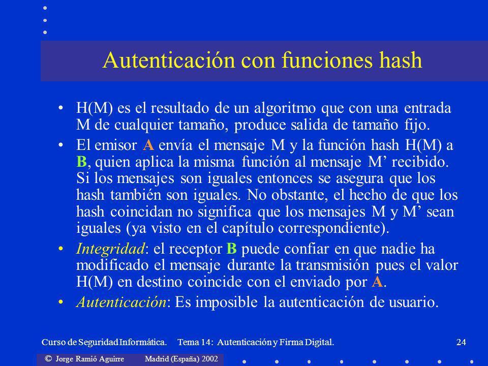 © Jorge Ramió Aguirre Madrid (España) 2002 Curso de Seguridad Informática. Tema 14: Autenticación y Firma Digital.24 Autenticación con funciones hash
