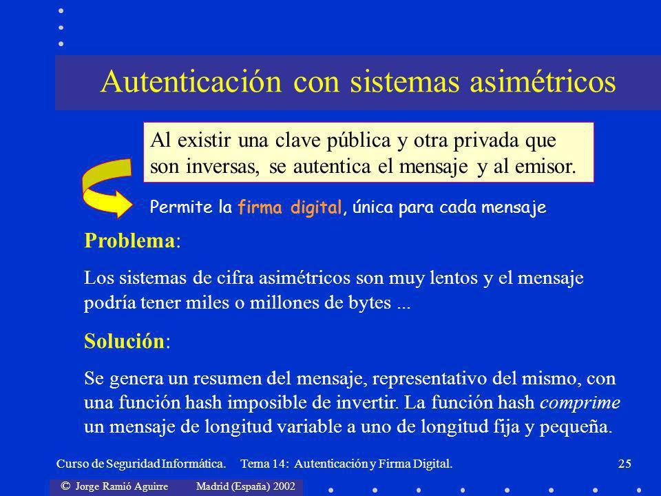 © Jorge Ramió Aguirre Madrid (España) 2002 Curso de Seguridad Informática. Tema 14: Autenticación y Firma Digital.25 Autenticación con sistemas asimét