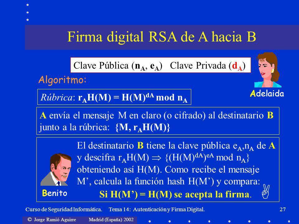 © Jorge Ramió Aguirre Madrid (España) 2002 Curso de Seguridad Informática. Tema 14: Autenticación y Firma Digital.27 Clave Pública (n A, e A ) Clave P