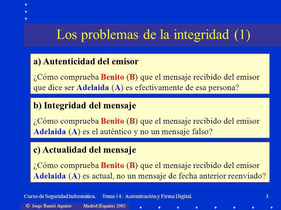 © Jorge Ramió Aguirre Madrid (España) 2002 Curso de Seguridad Informática. Tema 14: Autenticación y Firma Digital.3 Los problemas de la integridad (1)