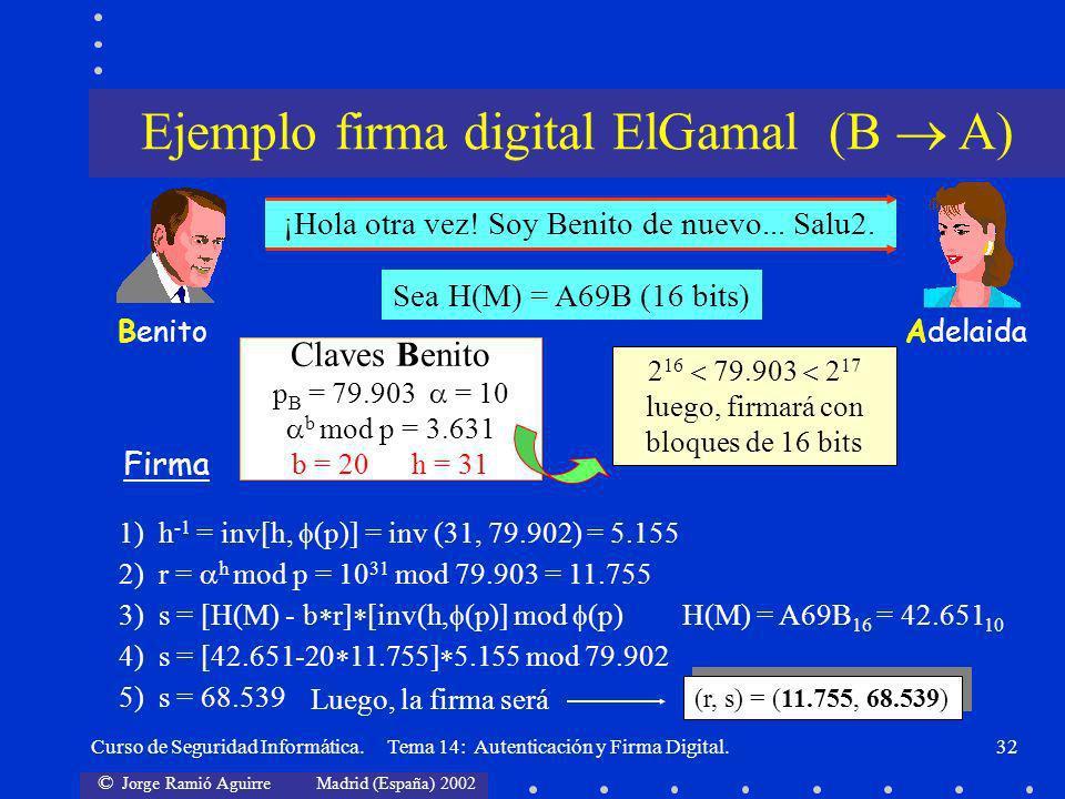 © Jorge Ramió Aguirre Madrid (España) 2002 Curso de Seguridad Informática. Tema 14: Autenticación y Firma Digital.32 AdelaidaBenito ¡Hola otra vez! So