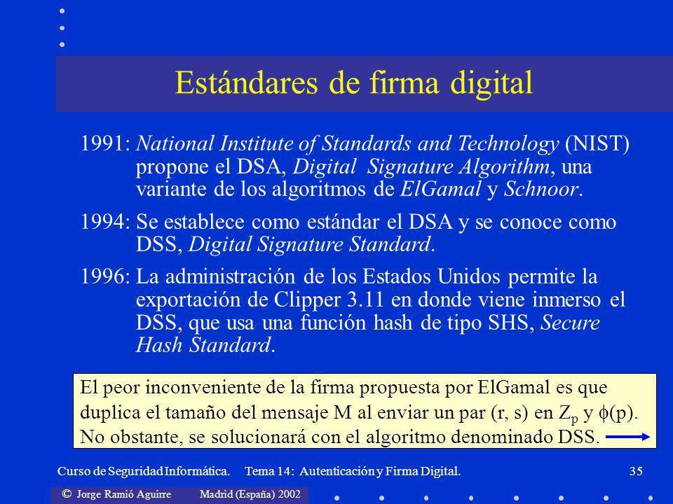 © Jorge Ramió Aguirre Madrid (España) 2002 Curso de Seguridad Informática. Tema 14: Autenticación y Firma Digital.35 1991:National Institute of Standa