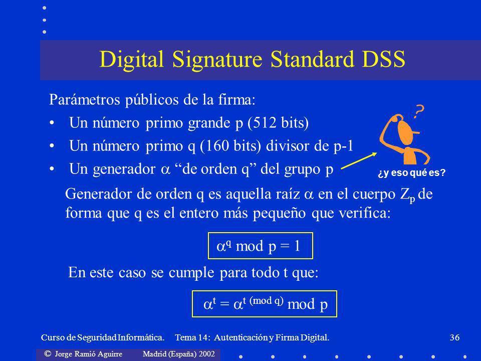 © Jorge Ramió Aguirre Madrid (España) 2002 Curso de Seguridad Informática. Tema 14: Autenticación y Firma Digital.36 Parámetros públicos de la firma: