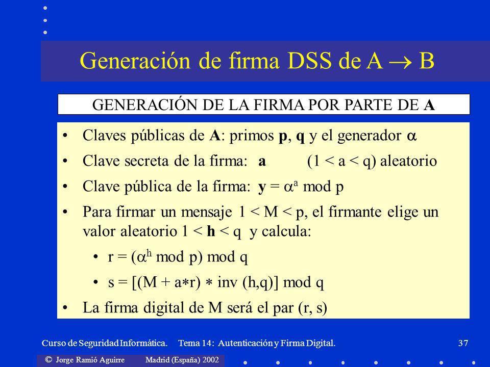 © Jorge Ramió Aguirre Madrid (España) 2002 Curso de Seguridad Informática. Tema 14: Autenticación y Firma Digital.37 Claves públicas de A: primos p, q