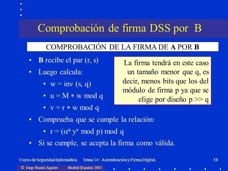 © Jorge Ramió Aguirre Madrid (España) 2002 Curso de Seguridad Informática. Tema 14: Autenticación y Firma Digital.38 B recibe el par (r, s) Luego calc