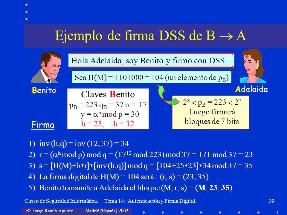 © Jorge Ramió Aguirre Madrid (España) 2002 Curso de Seguridad Informática. Tema 14: Autenticación y Firma Digital.39 Adelaida Benito Hola Adelaida, so