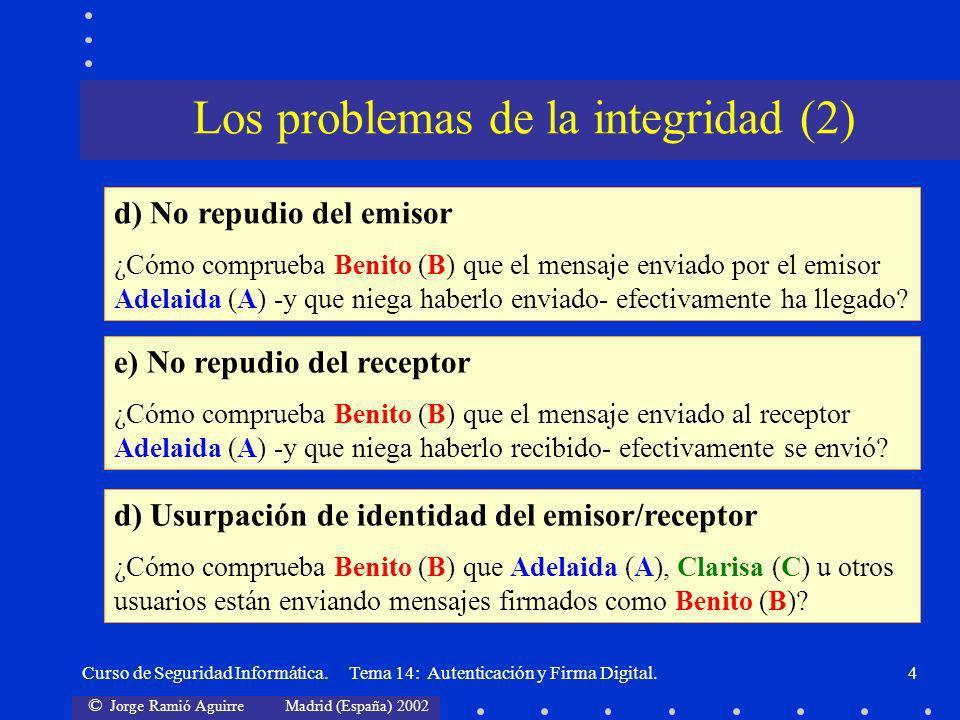 © Jorge Ramió Aguirre Madrid (España) 2002 Curso de Seguridad Informática. Tema 14: Autenticación y Firma Digital.4 Los problemas de la integridad (2)