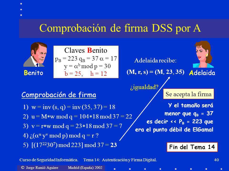 © Jorge Ramió Aguirre Madrid (España) 2002 Curso de Seguridad Informática. Tema 14: Autenticación y Firma Digital.40 AdelaidaBenito Comprobación de fi