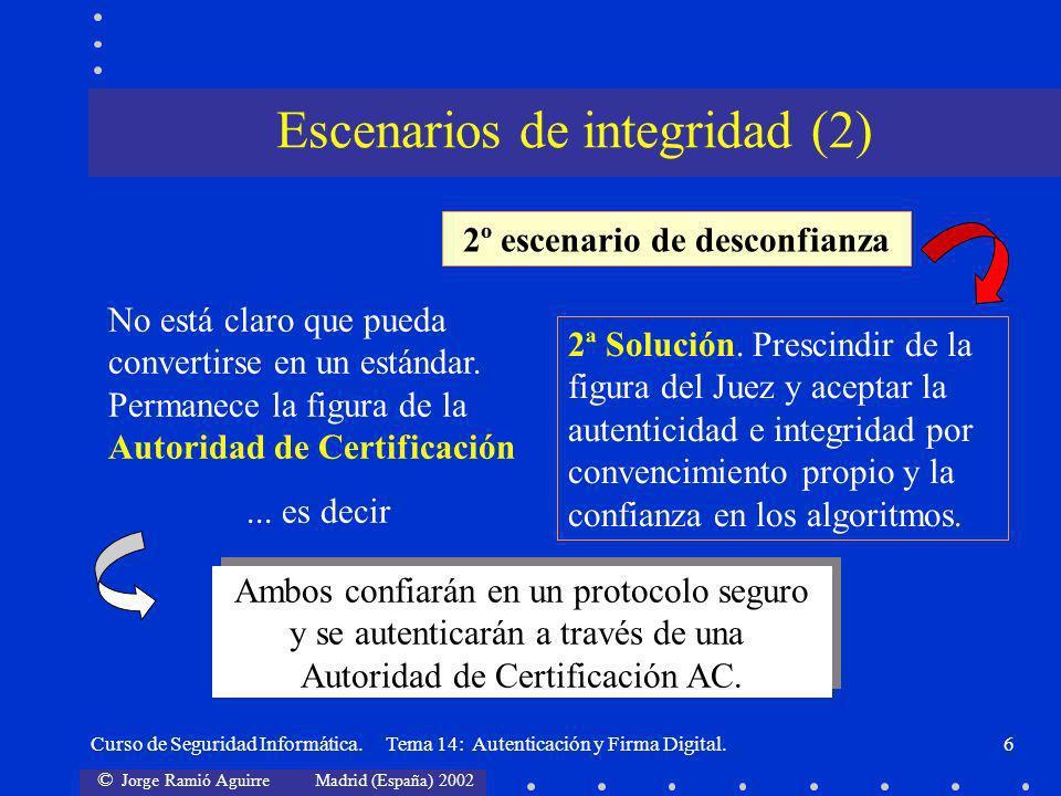 © Jorge Ramió Aguirre Madrid (España) 2002 Curso de Seguridad Informática. Tema 14: Autenticación y Firma Digital.6 Escenarios de integridad (2) 2º es