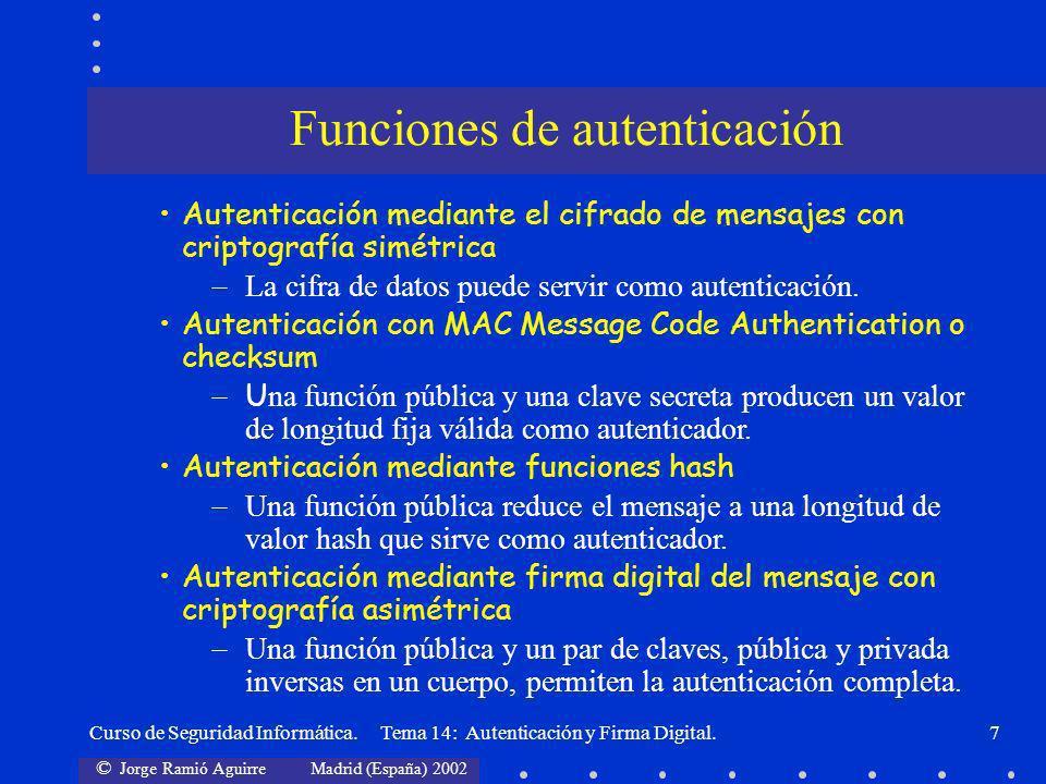 © Jorge Ramió Aguirre Madrid (España) 2002 Curso de Seguridad Informática. Tema 14: Autenticación y Firma Digital.7 Funciones de autenticación Autenti