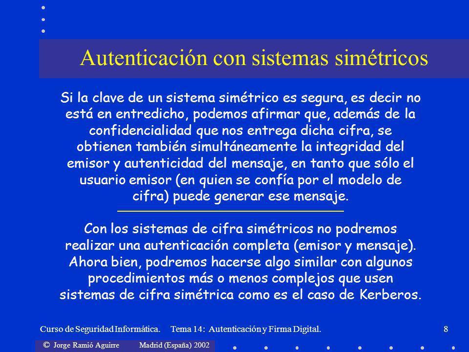 © Jorge Ramió Aguirre Madrid (España) 2002 Curso de Seguridad Informática. Tema 14: Autenticación y Firma Digital.8 Autenticación con sistemas simétri