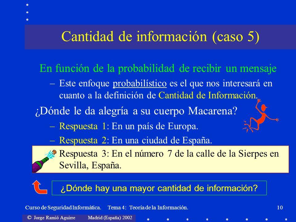 © Jorge Ramió Aguirre Madrid (España) 2002 Curso de Seguridad Informática. Tema 4: Teoría de la Información.10 En función de la probabilidad de recibi