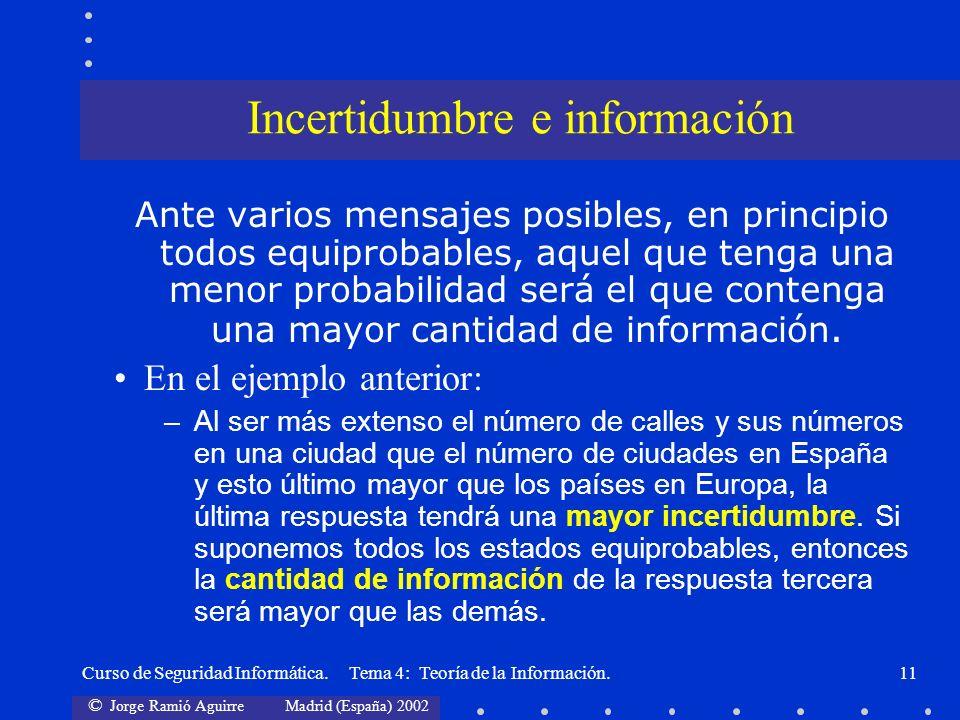 © Jorge Ramió Aguirre Madrid (España) 2002 Curso de Seguridad Informática. Tema 4: Teoría de la Información.11 Ante varios mensajes posibles, en princ