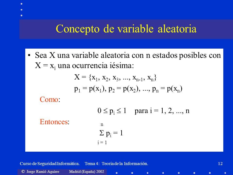 © Jorge Ramió Aguirre Madrid (España) 2002 Curso de Seguridad Informática. Tema 4: Teoría de la Información.12 Sea X una variable aleatoria con n esta