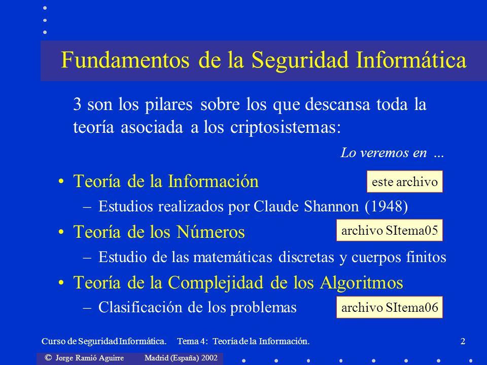 © Jorge Ramió Aguirre Madrid (España) 2002 Curso de Seguridad Informática. Tema 4: Teoría de la Información.2 3 son los pilares sobre los que descansa
