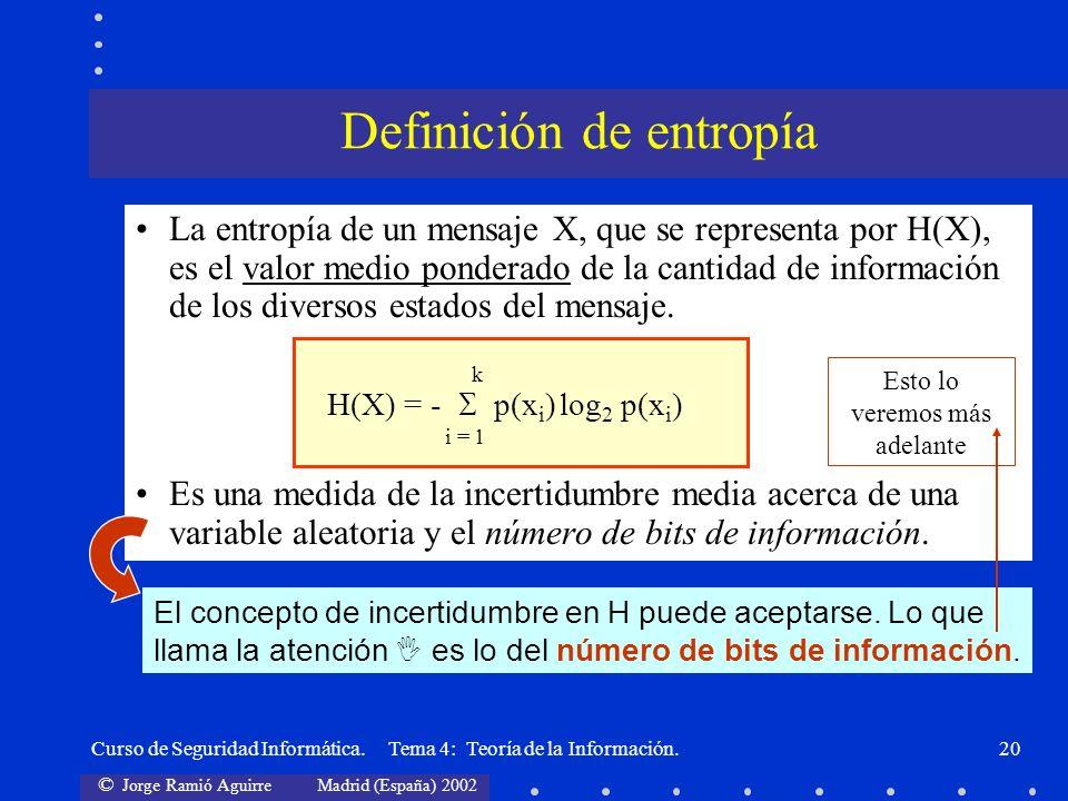 © Jorge Ramió Aguirre Madrid (España) 2002 Curso de Seguridad Informática. Tema 4: Teoría de la Información.20 La entropía de un mensaje X, que se rep