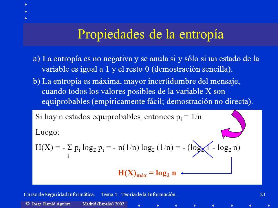 © Jorge Ramió Aguirre Madrid (España) 2002 Curso de Seguridad Informática. Tema 4: Teoría de la Información.21 a) La entropía es no negativa y se anul
