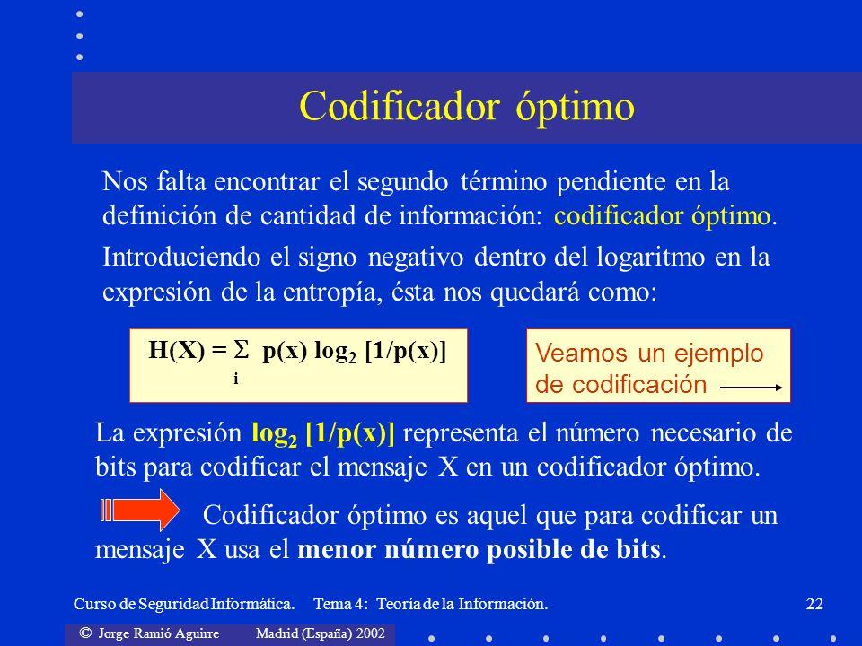 © Jorge Ramió Aguirre Madrid (España) 2002 Curso de Seguridad Informática. Tema 4: Teoría de la Información.22 Nos falta encontrar el segundo término