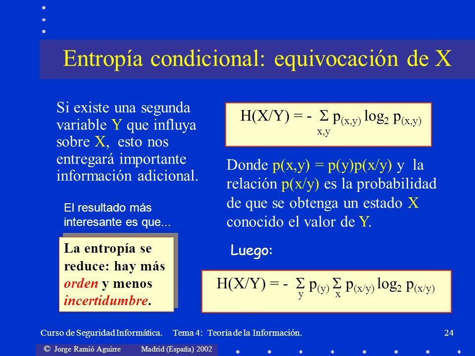 © Jorge Ramió Aguirre Madrid (España) 2002 Curso de Seguridad Informática. Tema 4: Teoría de la Información.24 Si existe una segunda variable Y que in